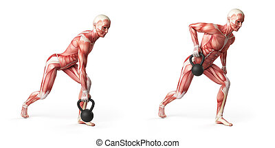 one arm row - kettlebell exercise - one arm row