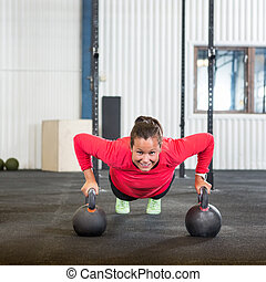 kettlebell, femme, direct, exercice