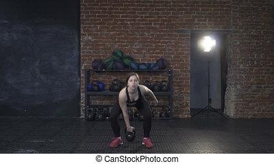 kettlebell, femme, fitness, fragment