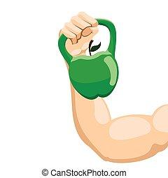 kettlebell, forma, mela, sollevamento, braccio