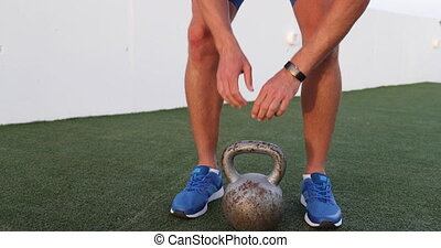 kettlebell, formation, levage, homme, gymnase, activité, ...
