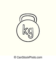 Kettlebell hand drawn outline doodle icon.