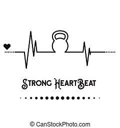 Kettlebell Heartbeat concept - Vector EKG (heartbeat...