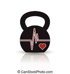 Kettlebell Heartbeat concept - Vector kettlebell icon with ...