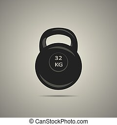 kettlebell icon in black and white colors