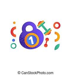 kettlebell, lebensstil, symbole, gesunde, abbildung, sport, vektor, fitness, hintergrund, weißes, hantel