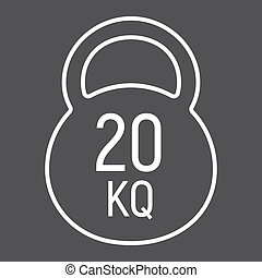 Kettlebell line icon, fitness and sport, workout sign vector graphics, a linear pattern on a black background, eps 10.