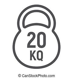 Kettlebell line icon, fitness and sport, workout sign vector graphics, a linear pattern on a white background, eps 10.