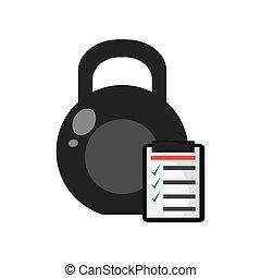 kettlebell, lista de verificação, ícone
