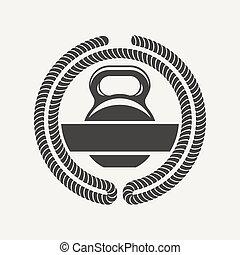 kettlebell logo - Emblem of the cross bars for fitness and...