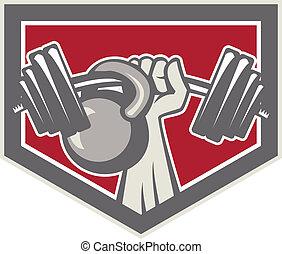 kettlebell, mano, protector, elevación, barra con pesas