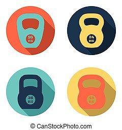 kettlebell, plano, iconos, aislado, blanco, plano de fondo