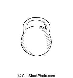 Kettlebell sketch icon. - Kettlebell vector sketch icon ...