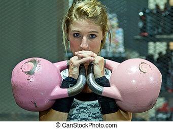 kettlebell, treinamento, ginásio, modelo