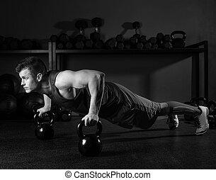 kettlebells, push-up, homem, força, ginásio, malhação