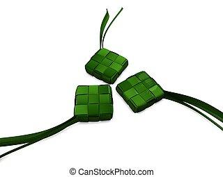Ketupat - 3d image, Traditional food \'ketupat\', type of...