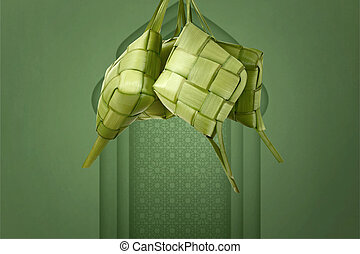 Ketupat from young coconut leaves hanging