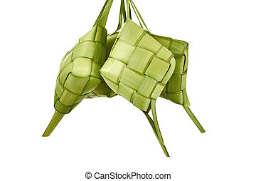 Ketupat is traditional food with unique pattern isolated...