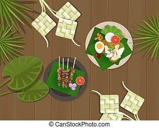 ketupat lebaran idul fitri ied table food indonesia vector