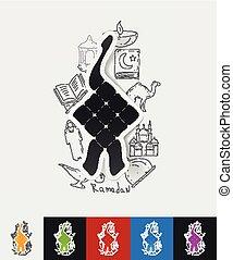 ketupat paper sticker with hand drawn elements