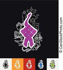 ketupat paper sticker with hand drawn elements - hand drawn...