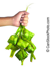 Ketupat (Rice Dumpling). Ketupat is a natural rice casing made from young coconut leaves for cooking rice during eid Mubarak