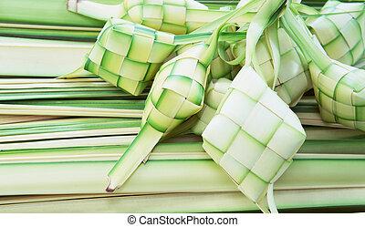 Ketupat: South East Asian rice cakes bundle, often prepared...
