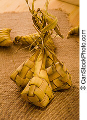 Ketupat: South East Asian rice cakes bundle, often prepared for hari raya