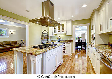 keuken, eiland, met, built-in, kachels, graniet, bovenzijde,...