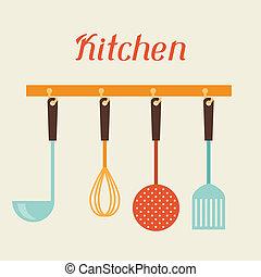 keuken, en, restaurant, gereedschap, spatel, whisk, vergiet,...