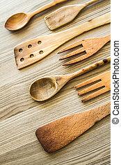 keuken, houten, pot, van, spina scapula, lepel, en, vork