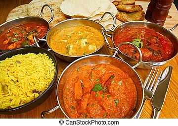 keuken, indiër, buffet