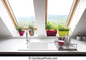 keuken, kamer, zolder