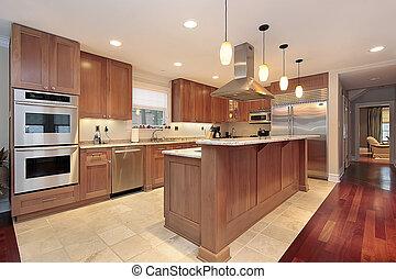 keuken, met, eik, hout, cabinetry