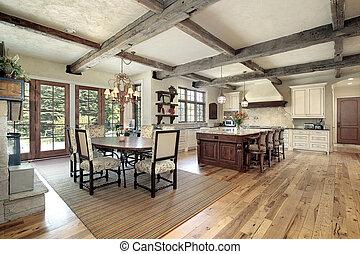 keuken, met, eiland, en, plafond, hout, balken