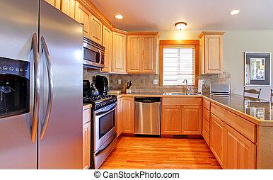 keuken, met, esdoorn, kabinetten, en, nieuw, roestvrij,...