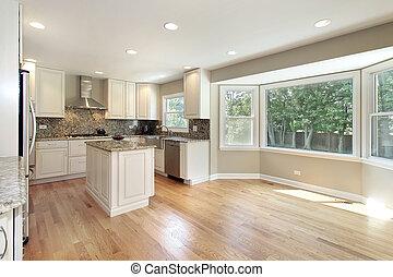 keuken, met, groot, beeld raam af