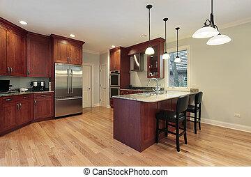 keuken, met, kers, hout, cabinetry