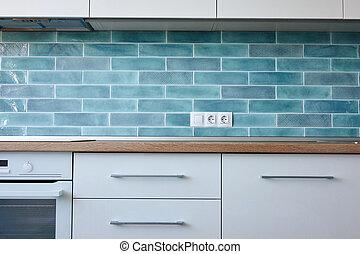 keuken, met, keukenapparatuur, in, moderne, stijl