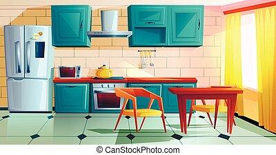 keuken, meubel, houten, witn, interieur, spotprent