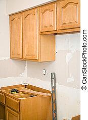 keuken, remodel, -, kabinetten