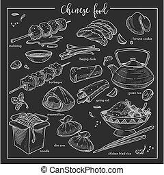keuken, schets, chinees voedsel, nationale, krijt, china