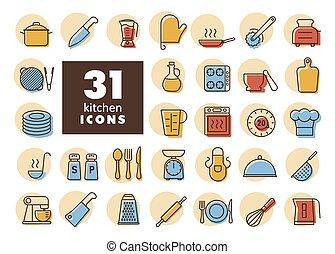 keuken, set, vector, iconen, het koken