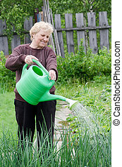 keuken, vrouw, tuin, bejaarden, werken
