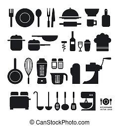 keuken werktuig, iconen, verzameling, /, groenteblik, zijn,...