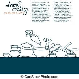keukengerei, vector, illustratie, handtekening