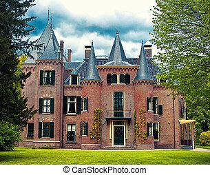 Beautiful castle in Keukenhof garden, Holland