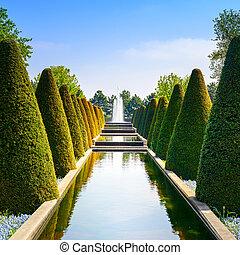 keukenhof, pays-bas, jardin, haies, eau, lignes, fountain., conique, piscine