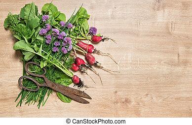 keukenkruiden, gezonde , radijsje, etenswaar achtergrond, groente, fris, wortels