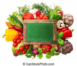 keukenkruiden, groentes, chalkboard, fris
